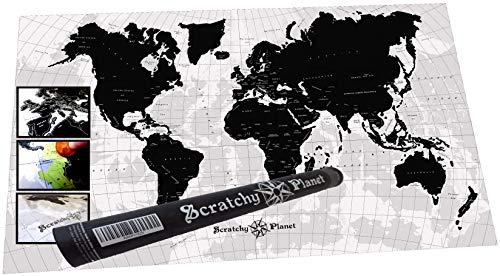Scratchy Planet® - Designer Weltkarte zum Rubbeln, Rubbel Weltkarte, Atlas, Internationale Kratzkarte, Landkarte XL, Design Version in Schwarz Weiß