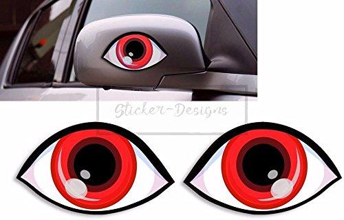 Sticker-Designs® ca.7.5cm lustige Augen Rot Bunny Bike046 viele Jahre haltbar,Hochleistungs-Druck UV & Waschanlagenfest,schutzbeschichtete,kratzfeste,Profi-Qualität,bunt ohne Hintergrund-FREIGESTELLT-,Motiv ist auf Kontur(Umriss)ausgeschnitten(Bild2)!Für alle Autos und Lacke geeignet.SCHNELL,EINFACH ZU VERKLEBEN auf Scheiben,PKW,Motorrad,Tuning,Camping,alle glatten Flächen,Wandtattoo,Roller,Heckscheibe,Stoßstange.MADE IN GERMANY