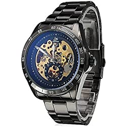 Herren-Skeleton Stil Black Steel Auto Mechanische Armbanduhr