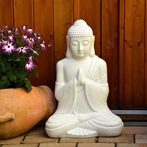 Garten Buddha weiß 50cm Statue Figur Skulptur Deko