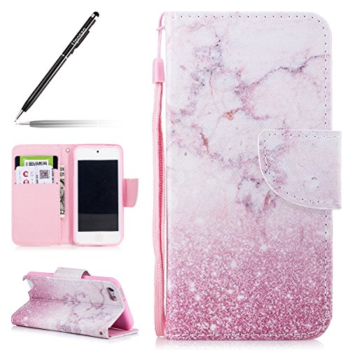 Custodia ipod touch 7,ipod touch 6 cover,ipod touch 5/6 custodia in pelle,uposao painted pattern pu leather stand flip cover protettiva case telefono pelle custodia per ipod touch 5/6-(marmo)