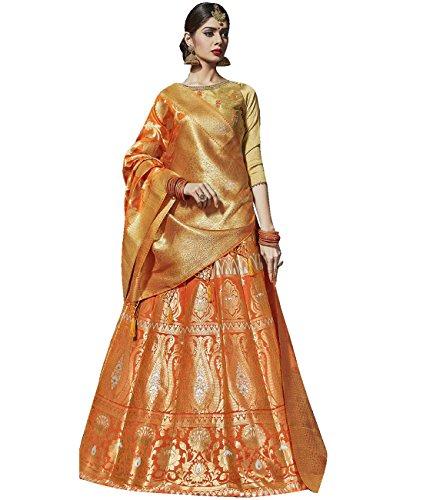 Indian Ethnicwear Bollywood Pakistani Wedding Orange A-Line Lehenga Semi-stitched