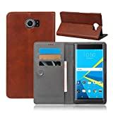 Blackberry Priv - Protective Grip Back Shell Leather Case/Cover/Bumper/Skin/Cushion - Fashion Art Collection (Brown)