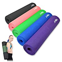 JLL® Yoga Mat 6mm, Carry Case Included, Suitable as a Yoga, Pilates and Camping Mat, 5 Colours Available, Exercise, Fitness, Workout