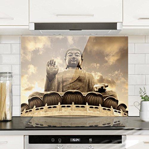 Bilderwelten Spritzschutz Glas - Großer Buddha Sepia - Quer 3:4 Wandbild Küchenrückwand Küchenspiegel Küchenspritzschutz Glasrückwand Küche Spritzschutz Herd, Größe HxB: 59cm x 80cm