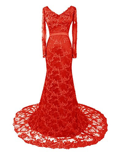 Dresstells, Robe de soirée Robe de mère de mariée en satin et dentelle traîne moyenne manches longues Rouge