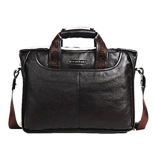 YAAGLE Herren echtes Leder Kuriertasche Querschnitt Schultertasche Aktentasche Business Taschen Handtasche Reisetasche-coffee black