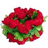 Artificial Rose Garland Silk Flower Vine for Home Wedding Garden Decoration - Red