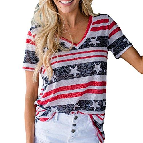 iYmitz Damen Kurzarm Bluse patriotischen Streifen Star American Flag Print Tank Top Oberteil Tees(Rot,XL)