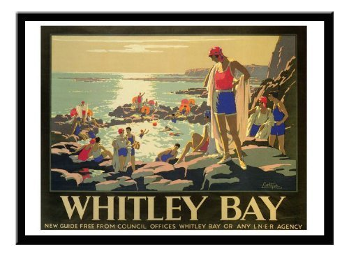 Whitley bay Rail Reise Print 1920er schwarz gerahmt–41x 31cms (ca. 40,6x 30,5cm) (Rail Gerahmt)