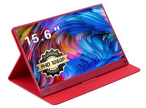 UCMDA Moniteur Portable - 15,6 Pouces HDMI 1920 x 1080P Gaming IPS Full HD Écran avec USB Alimenté, Haut-parleurs Intégrés Moniteur pour Ordinateur Raspberry Pi PS4, Xbox, Laptop, Phone, Switch-Rouge