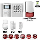 Système d'alarme PRO sans fil GSM + RTC 868 mhz immunité animaux 25 kg + Sirène Flash exterieur - intérieur autonome MFprotect - vidéo surveillance