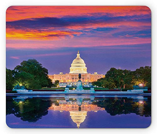 American Mouse Pad, Washington US Congress Capitol Building Square Reflection on Lake Sunset View Image, Standard Size Rectangle Non-Slip Rubber Mousepad, Red Blue (Building Capitol Us)
