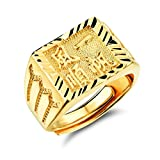 """OPK Jewellery 18K Gold Plated Men's Ring Engrave Chinese Character Meaning """"Good Luck With You"""" , Size Adjustable"""