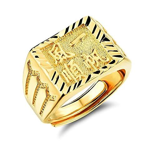 Fate Love Bijoux caractères chinois incrustation 18K plaqué or Bague de Mariage de Bijoux Hommes, Taille réglable
