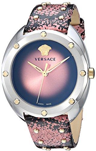 Versace Femme 'Shadov' à Quartz Montre en Acier Inoxydable et Peau de Serpent, Couleur: Rose (modèle: Vebm00818)