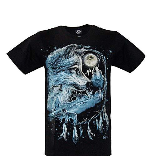 Cabalo - Camiseta de Hombre y Mujer de algodón de Manga Corta con impresión de Lobo con atrapasueños de Efecto Afelpado (MA-100), Talla S, M, L, XL Negro XL
