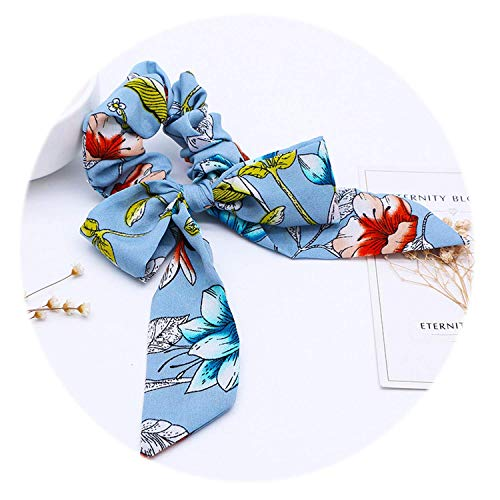 OULN1Y Stirnband Women Flower Bow Hair Bands Streamers Scrunchie Girl Horsetail Hair Tie Elastic Headwear Women's Hair Accessories,D