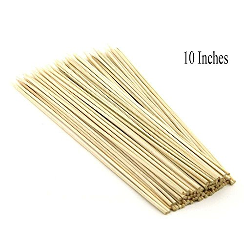 Pindia 10 Inches (Set of 100pc) Bamboo BBQ party sticks / Fruit skewer / kabab Skewer / Long BBQ Toothpicks