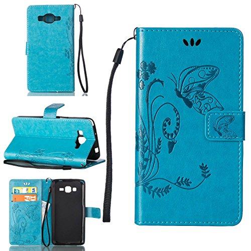 Guran Custodia in Pu Pelle Flip Cover per Samsung Galaxy Core Plus G350 Smartphone avere Portafoglio e Funzione Stent Modello Embossato di Farfalla Copertura Protettiva - blu
