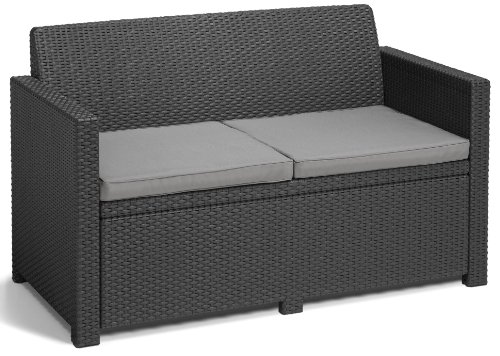Allibert 219851 Lounge Set Merano (2 Sessel, 1 Sofa, 1 Tisch), Rattanoptik, Kunststoff, graphit - 3