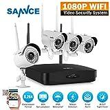 SANNCE Drahtloses Videoüberwachung,HD 1080P 4 Kanal WIFI Überwachungskamera Set,Wireless NVR recorder System mit 4x 2.0MP WLAN Kamera für Innen Außen Sicherheit mit Nachtsicht-Funktion ohne HDD