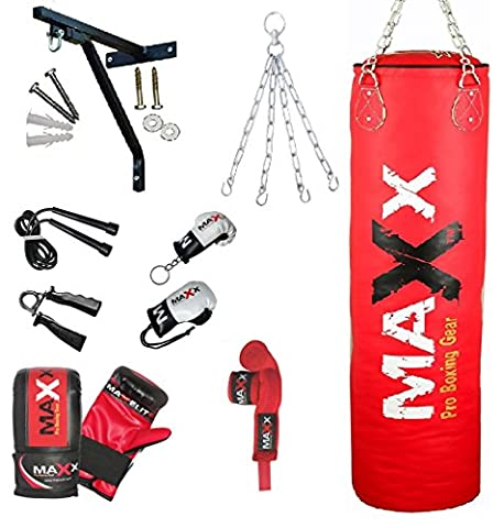 Maxx Red 12pc set Rex Leather boxing punchbag with Bracket