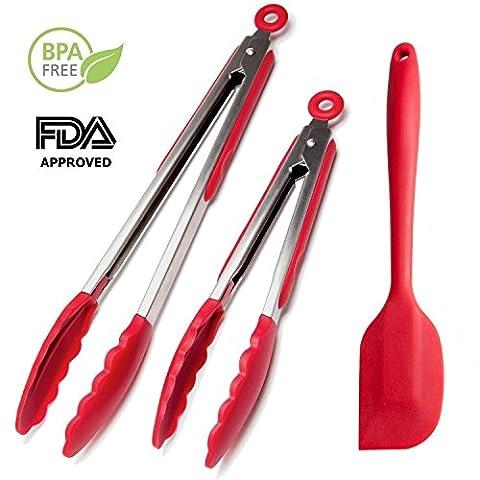Heßler Chef de cuisine de pince en silicone (Rouge, 9et 30,5cm) + Spatule en silicone 12 Red