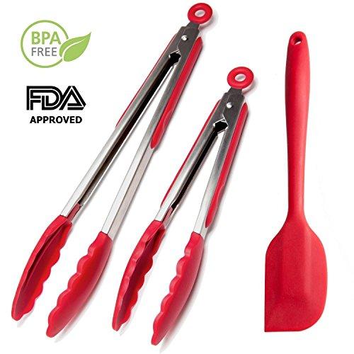 Pinzas de silicona de cocina de chef Hessler Set (rojo, 9& 12-inch)...