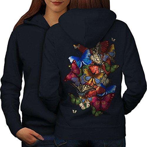 Coloré Papillon Animal Femme S-2XL Sweat à capuche le dos | Wellcoda Bleu