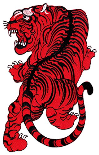 Wakapu siam tiger patch iron on sew on ricamato thailandia yantra thai kick boxing tatuaggio arti marziali kung fu cat, red, large