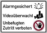 Aufkleber Alarmgesichert, Videoüberwacht, Unbefugten Zutritt verboten 150x200mm