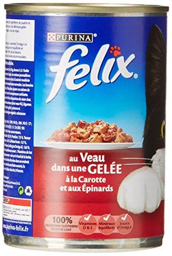Felix Émincés en gelée Repas pour chat adulte Mix Viandes, Poissons & Légumes 4 x 400 g - Lot de 6 (24 boîtes)