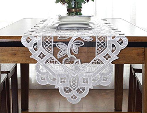 ERRU-Drapeau de table Chemin de Table Dentelle Creux Tissu Long Rectangulaire Table Basse Couverture Tissu TV Couverture de Cabinet Tissu Simple Plante Fleur Motif Style Européen Nappes ( Couleur : Blanc , taille : 30cm*210cm )