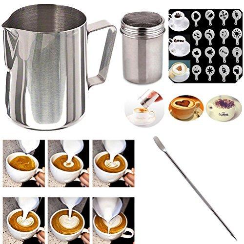 Maple Shaker (buytra Edelstahl Milch aufschäumen Krug 12Oz Kaffee Shaker Duster Puderzucker Puder Kakao Mehlsieb 16Stücke Cappuccino Barista Kaffee Art Schablonen Pen)