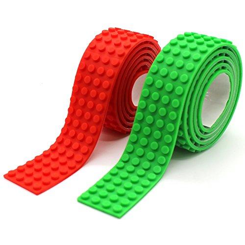 Wiederverwendbar Silikon Selbstklebend Baustein Klebeband, Kompatibel mit Lego Bausets, Pädagogisches Spielzeug zum Anregen der Vorstellungskraft, 4 Bolzen