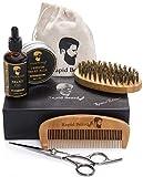 Kit Barba Cuidado para Hombre – Cepillo Barba De Cerdas Naturales De Jabalí, Peine, Aceite Barba...