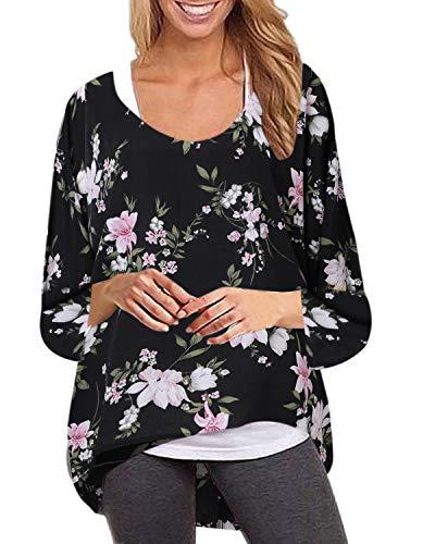 ZANZEA Damen Rundhals Langarmshirts Blumen Asymmetrisch T-Shirt Oversize Oberteil Lose Tops 01-schwarz EU 50/Etikettgröße 3XL