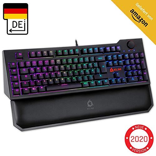 KLIM Vidi Mechanische Tastatur mit Handballenauflage + Ergonomisches, schnelleres Tippen + Rote Schalter Gaming-Tastatur + Multimedia-Steuerung und extra USB-Ports + Für PC Mac PS4 Xbox One + NEU 2020