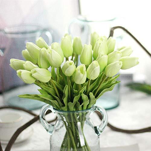 Chunqi Unechte Blumen,Künstliche Deko Blumen Gefälschte Blumen Blumenstrauß Seide Tulpe Wirkliches Berührungsgefühlen, Braut Hochzeitsblumenstrauß für Haus Garten Party Blumenschmuck 10Stück (grün)