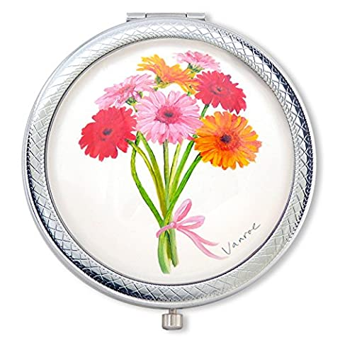 Vanroe 'Gerbera Bouquet' Luxury Daisy Compact Mirror in Gift Box
