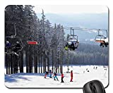 Rectangle Non-Slip Rubber Mouse Pad(9.45x7.8x0.12 Inches) Skiing Area Chair Lift Skiers Ski Resort