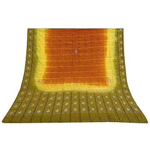 Indian Jahrgang antike Schal Art Silk Dupatta Hand wulstige orange Schleier Stola