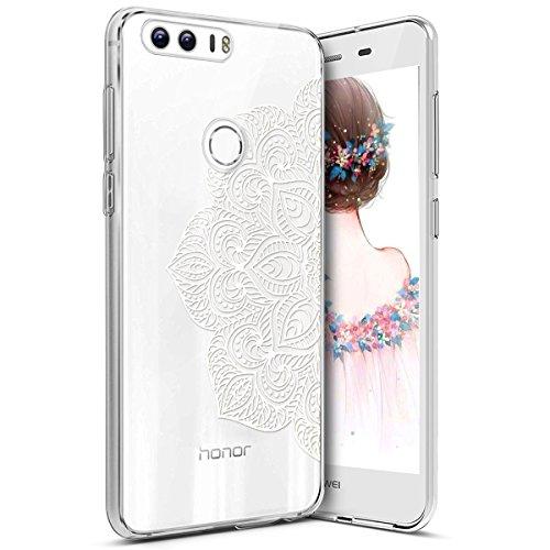 Coque Huawei Honor 8,Coque Huawei Honor 8 Étui Silicone Transparente,Surakey [Ultra Mince] Souple TPU Housse Étui Protection TPU Bumper Silicone Etui pour Huawei Honor 8, Fleur mandala blanc