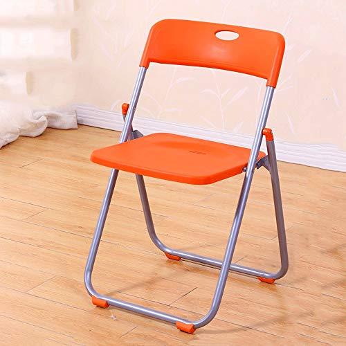 ZXT Klappstuhl, Einfache Moderne Esszimmerstuhl Büro Besprechungsstuhl Heim Tragbare Stuhl Verdickung Sitz Und Rückenlehne Computer Büro Freizeit Klappstuhl (Farbe : Orange)