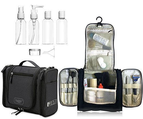 Foto de Neceser para colgar Viaje Bolsa Aseo Bolso Tocador, botellas viaje | Organizador Accesorios de Baño de Cosméticos Afeitado, Kit y líquidos | Aprobadas para Seguridad de Aeropuerto