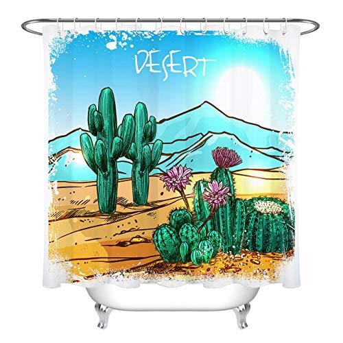 Yinyinchao Badezimmerdekoration,3D-Hd-Druck Verblasst Nicht,Cartoon-Design Desert Green Cactus Floral,Duschvorhang Aus Polyestergewebe,12 Duschhaken,180X180 cm,Wohnaccessoires Desert Rose Floral