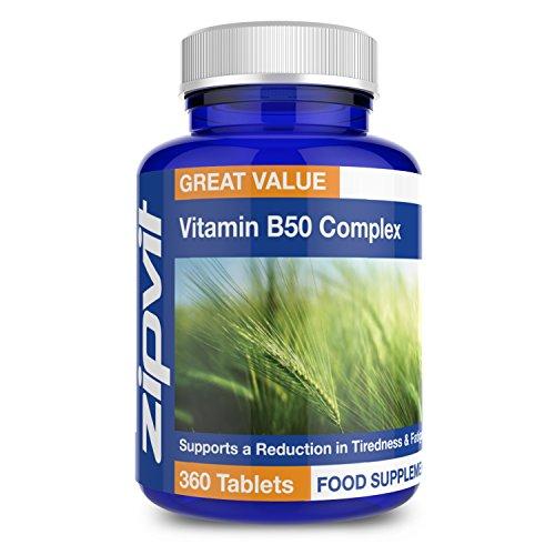Complejo de Vitaminas B50 | 360 comprimidos | Para el pelo, la piel, las uñas, el hígado, la vista, el sistema inmune y la fatiga | Vitaminas B1, B2, B3, B5, B6, B12, biotina y colina