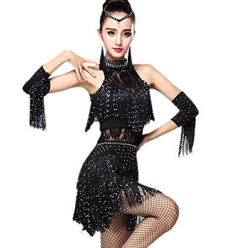Honeystore 2017 Neuheiten Damen Quasten Swing Rhythmus Jazz Latein Dance Kleid Schwarz ()