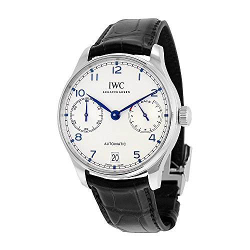 iwc-mens-42mm-black-alligator-leather-band-steel-case-automatic-silver-tone-dial-analog-watch-iw5007